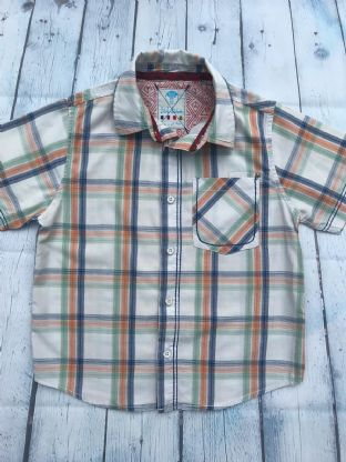 FatFace beige, white and orange check shirt age 6-7